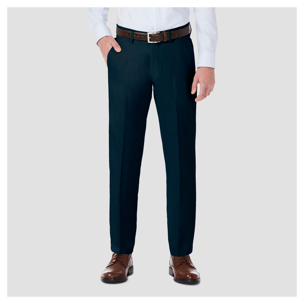 Haggar H26 Men's Performance 4 Way Stretch Straight Fit Trouser Pants - Navy (Blue) 38x30