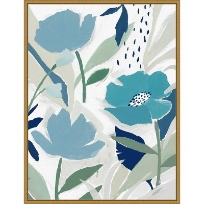 """18"""" x 24"""" Song of the Wind I Blue flowers by Isabelle Z Framed Canvas Wall Art - Amanti Art"""