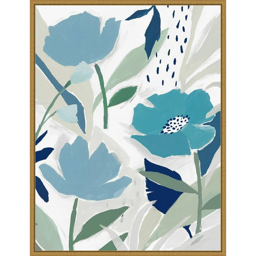 18 34 X 24 34 Song Of The Wind I Blue Flowers By Isabelle Z Framed Canvas Wall Art Amanti Art