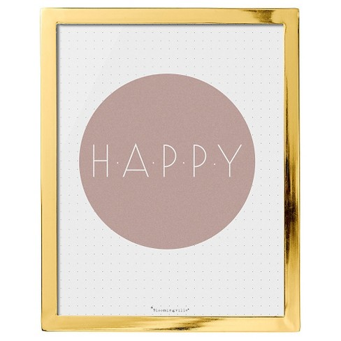 Happy Pink & Gold Framed Wall Art - 3R Studios - image 1 of 1