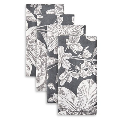 4pk Cotton Linear Floral Napkins - Town & Country Living