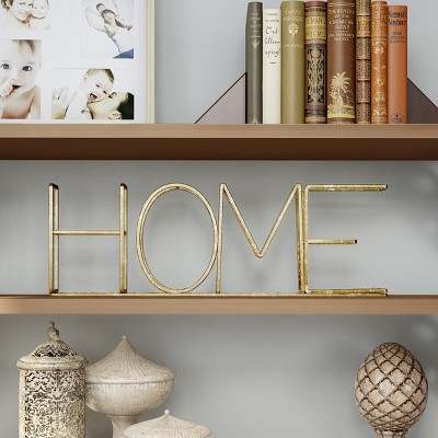 Home  Metal Cutout Free Standing Table Top Sign Gold - Lavish Home