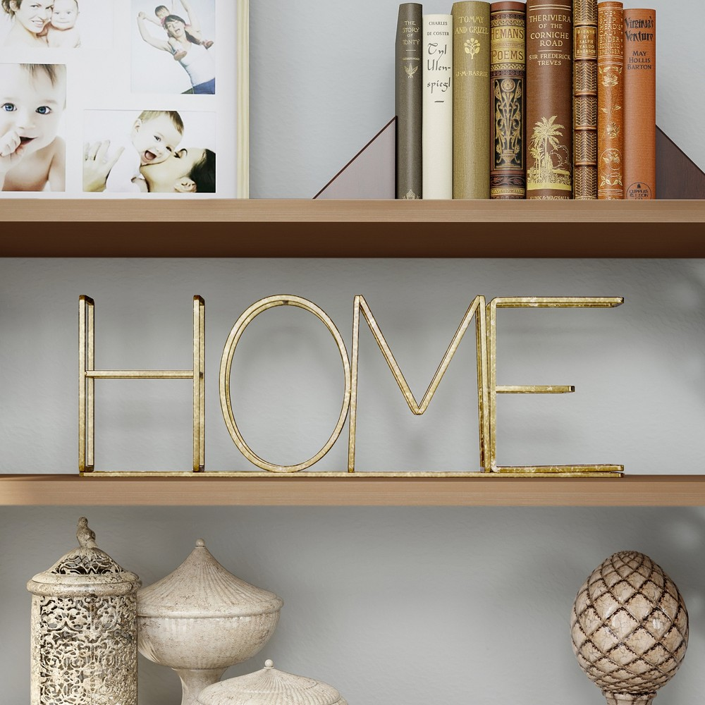 """Image of """"""""""""Home"""""""" Metal Cutout Free Standing Table Top Sign Gold - Lavish Home"""""""