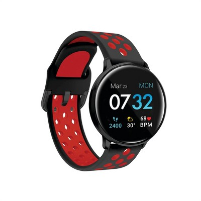 iTouch Sport Fitness Smartwatch - Black Case with Black/Red Perforated Strap