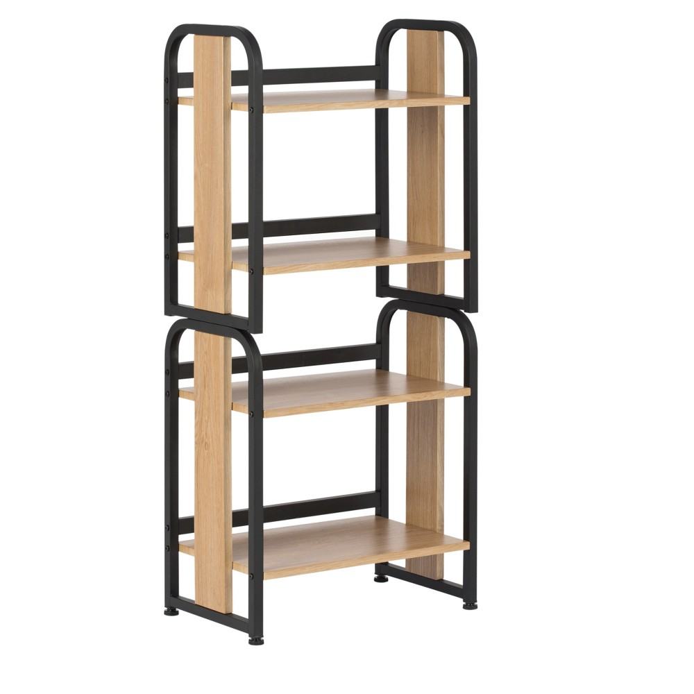 "Image of ""44.25"""" Ashwood Stackable Bookshelf - Black / Ashwood - Calico Designs"""