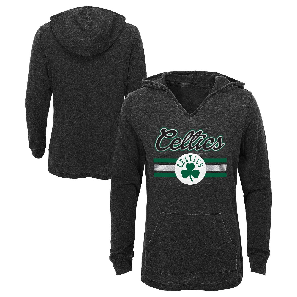 Boston Celtics Girls' Top of the Key Gray Burnout Hoodie S, Multicolored