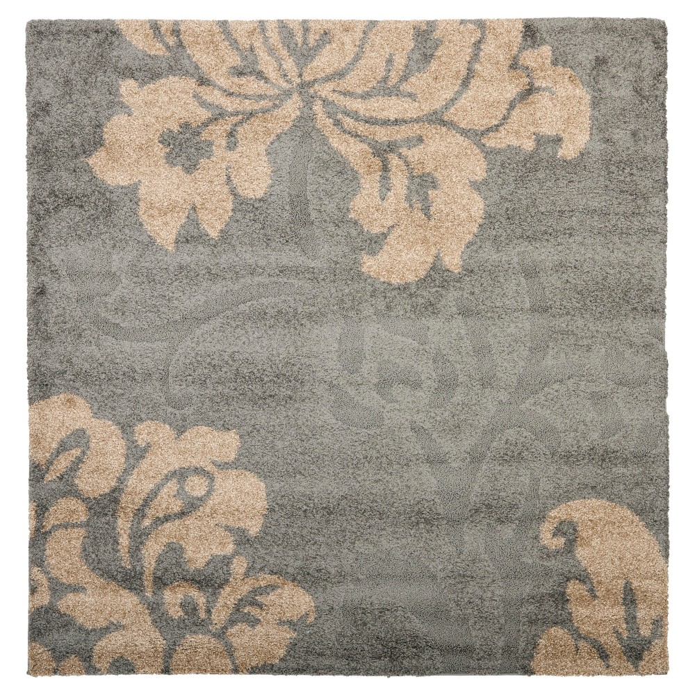 Gray/Beige Botanical Loomed Square Area Rug - (6'7