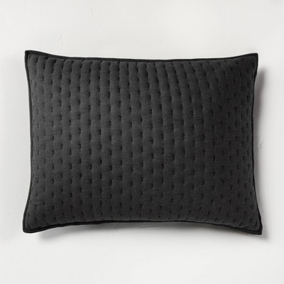 Standard Cashmere Blend Quilted Pillow Sham Washed Black - Casaluna™