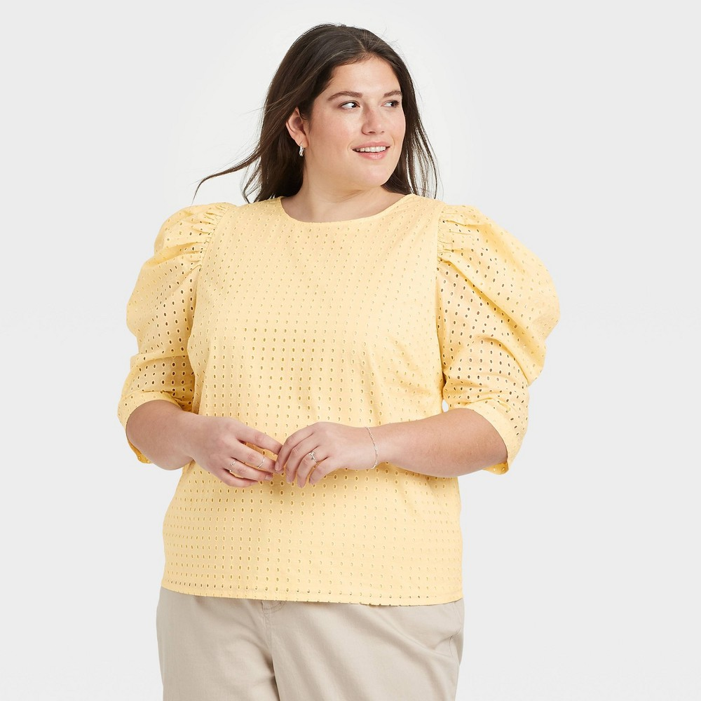 Women 39 S Plus Size Elbow Sleeve Eyelet Top A New Day 8482 Light Yellow 160 1x
