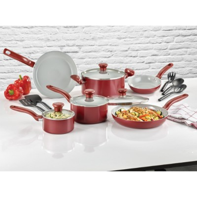 T-Fal 15pc Ceramic Cookware Set Red