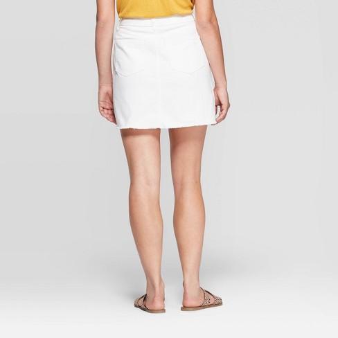 8e21cf72ea Women's Destructed Denim Mini Skirt - Universal Thread™ White : Target
