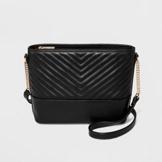 Quilted Bucket Crossbody Bag - A New Day™ Black