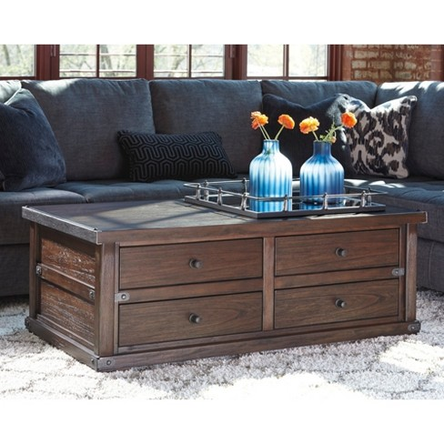 Zenfield Tail Table With Storage Medium Brown Signature Design By Ashley Target