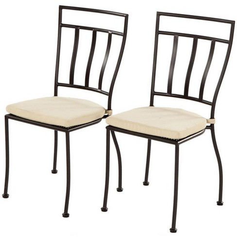 2pc Coated Steel Semplice Indoor/Outdoor Bistro Chairs with Cushions - Alfresco Home - image 1 of 4