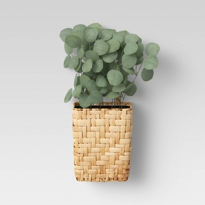 Hanging Woven Planter with Eucalyptus Plants Wall Sculpture Green - Threshold™