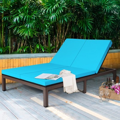 Costway 2-Person Patio Rattan Lounge Chair Chaise Recliner Adjustable Cushion Turquoise
