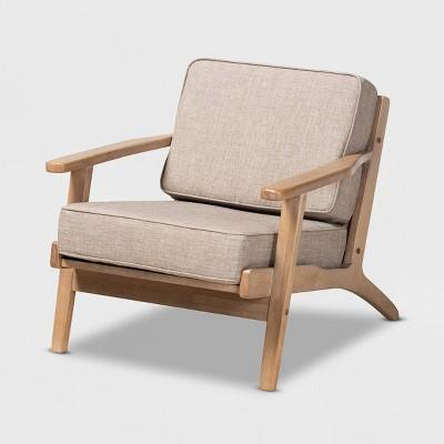 Sigrid Fabric Upholstered Wood Armchair Light Gray/Antique Oak - Baxton Studio