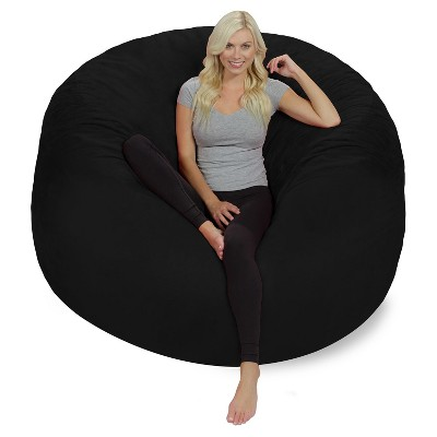 6' Huge Bean Bag Chair with Memory Foam Filling and Washable Cover Black - Relax Sacks