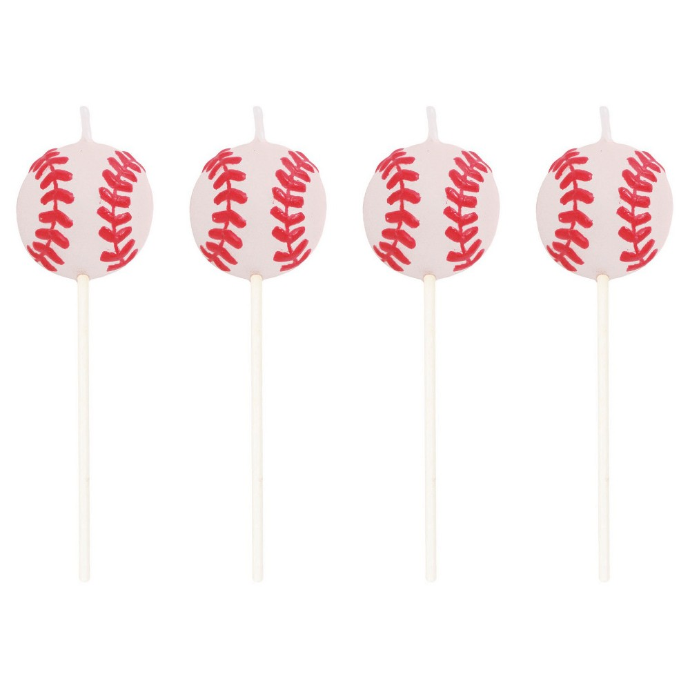 Sports Fanatic Baseball Candles, 4pk