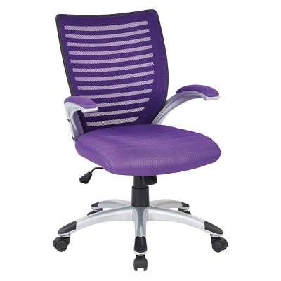 Mesh Seat and Screen Back Managers Chair with Padded Silver Arms Base - OSP Home Furnishings