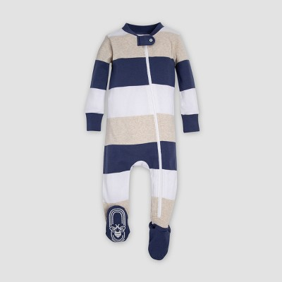Burt's Bees Baby® Baby Boys' Organic Cotton Jumbo Multi Stripe Footed Sleeper - Blue 6-9M