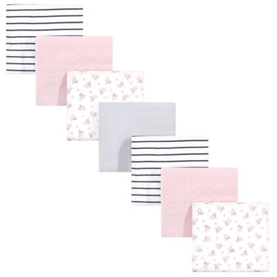 Hudson Baby Unisex Baby Cotton Flannel Receiving Blankets Bundle - Gray Pink Floral One Size