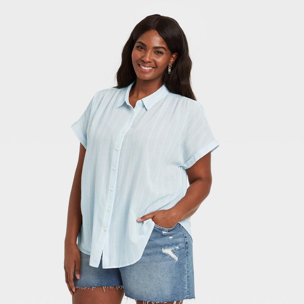 Women 39 S Plus Size Striped Short Sleeve Button Down Shirt Ava 38 Viv 8482 Blue X