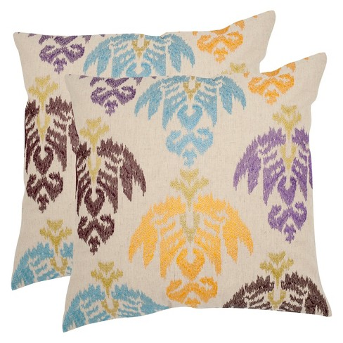 Embroidered Ikat Throw Pillow 2 Pack - Safavieh® - image 1 of 1