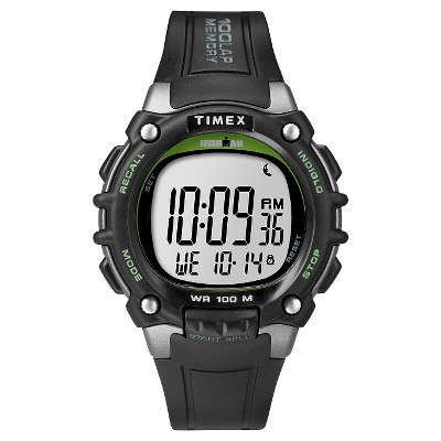 Men's Timex Ironman Classic 100 Lap Digital Watch - Black/Lime TW5M03400JT