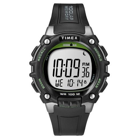Men's Timex Ironman Classic 100 Lap Digital Watch - Black/Lime TW5M03400JT  : Target