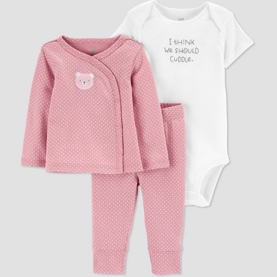 Baby Girls' 3pc Top and Bottom Set with Cardigan - Just One You® made by carter's Pink