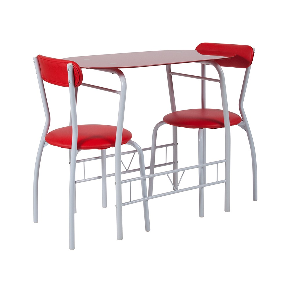 Sutton 3pc Glass Bistro Red - Riverstone Furniture