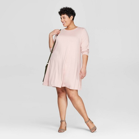 d7688a879478 Women's Plus Size Long Sleeve Scoop Neck Knit Swing Dress - Ava & Viv™ :  Target