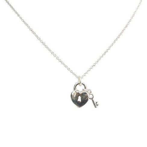 "Zirconite Heart Lock and Key Charms Pendant Necklace Silver - 16"" - image 1 of 1"