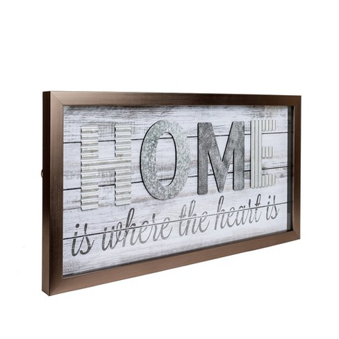 14 X26 Home Is Where The Heart Is Metal And Wood Plank Wall Art Gray Patton Wall Decor
