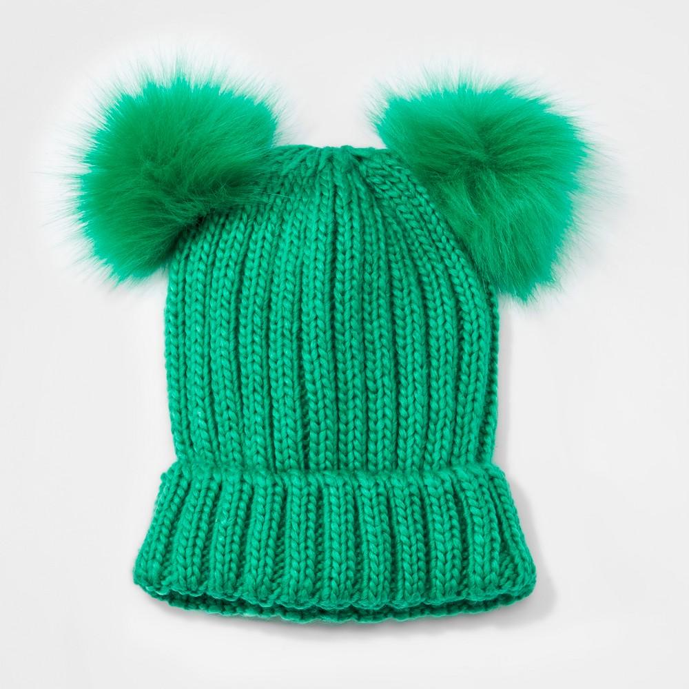 Girls' Faux Fur Pom Beanie - Cat & Jack Green One Size
