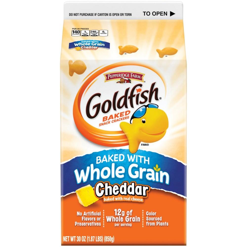 Pepperidge Farm Goldfish Baked with Whole Grain Cheddar Crackers, 30oz Carton
