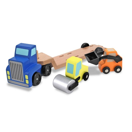 Melissa & Doug Low Loader Wooden Vehicle Play Set - 1 Truck With 2 Chunky Construction Vehicles image number null