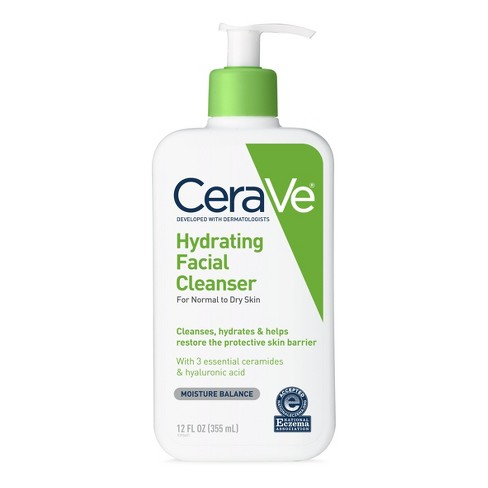 CeraVe Hydrating Facial Cleanser for Normal to Dry Skin, Fragrance Free - 12oz - image 1 of 3