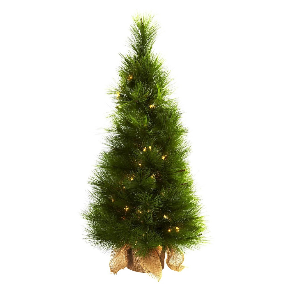 3' Christmas Tree with Burlap Bag & Clear Lights - Nearly Natural, Green