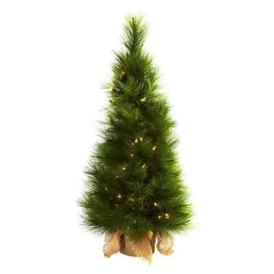 3u0027 Christmas Tree With Burlap Bag U0026 Clear Lights   Nearly Natural