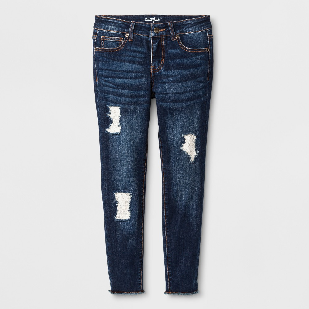 Girls' Crochet Jeans - Cat & Jack Dark Wash 8 Slim, Blue