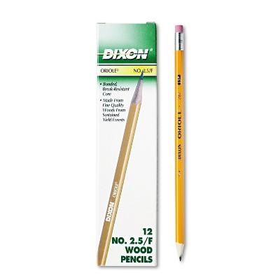 Dixon Oriole Woodcase Pencil F #2.5 Yellow Dozen 12875