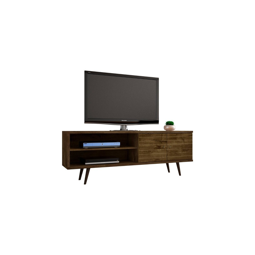 62.99 Liberty Mid Century Modern TV Stand Rustic Brown - Manhattan Comfort