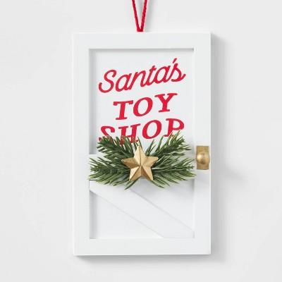 Wood Toy Shop Door Christmas Tree Ornament White - Wondershop™
