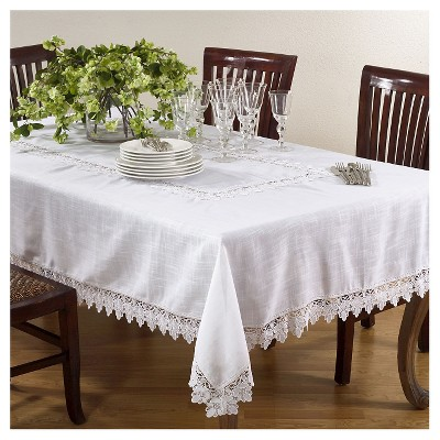 White Lace Trimmed Tablecloth (65 x104 )- Saro Lifestyle