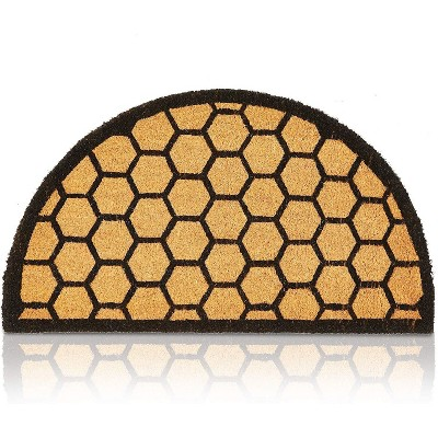 """Honeycomb Pattern Half Round Natural Coir Door Mat 17""""x30"""" - Welcome Front Doormat Non Slip Rug for Home Indoor Outdoor Entrance"""