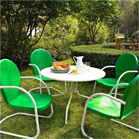 Steel 5 Piece Metal Patio Dining Set in Green-Pemberly Row - image 1 of 1