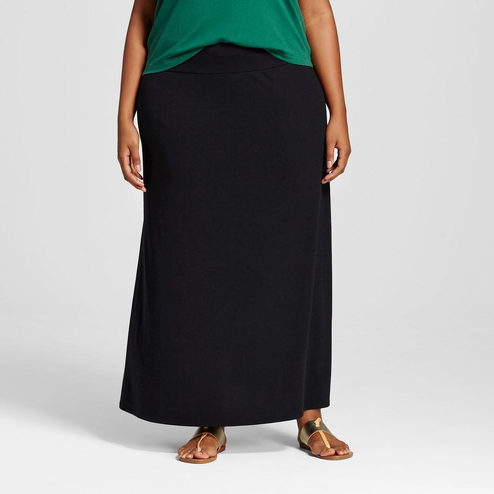 Women's Plus Size Knit Maxi Skirt - Ava & Viv Black X