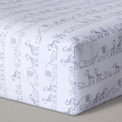Fitted Crib Sheet Two By Two   Cloud Island™ Gray by Shop This Collection